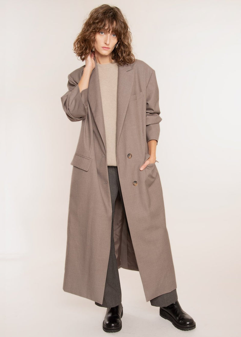 Single Breasted Woven Overcoat in Light Mauve Coat The Frankie Shop