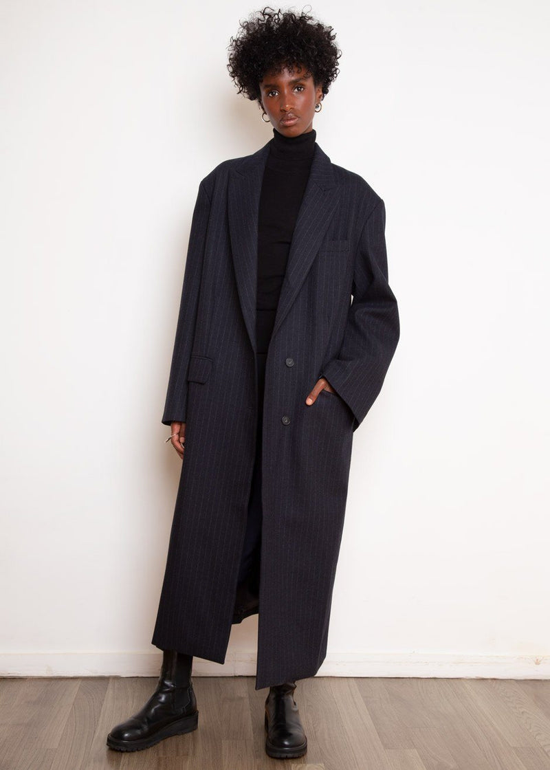 Single Breasted Woven Overcoat in Navy Pinstripe Coat The Frankie Shop