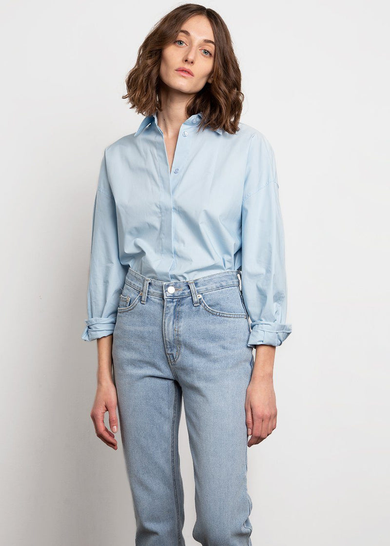 Sky Blue Oversized Button Down Shirt Shirt Stage