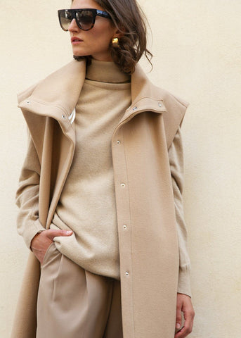Sleeveless Funnel Neck Jacket in Camel by Ter et Bantine Jacket Ter et Bantine