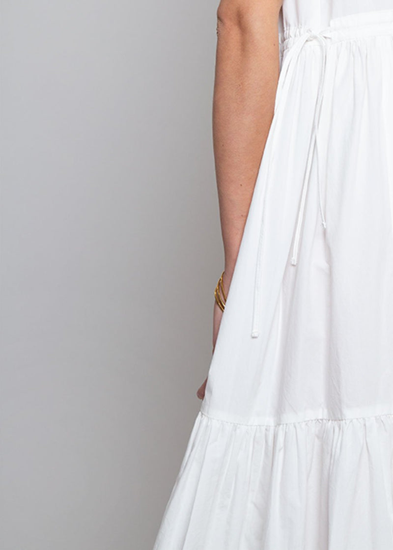 Sleeveless Gathered Waist Long Dress in White Dress Cafe Noir