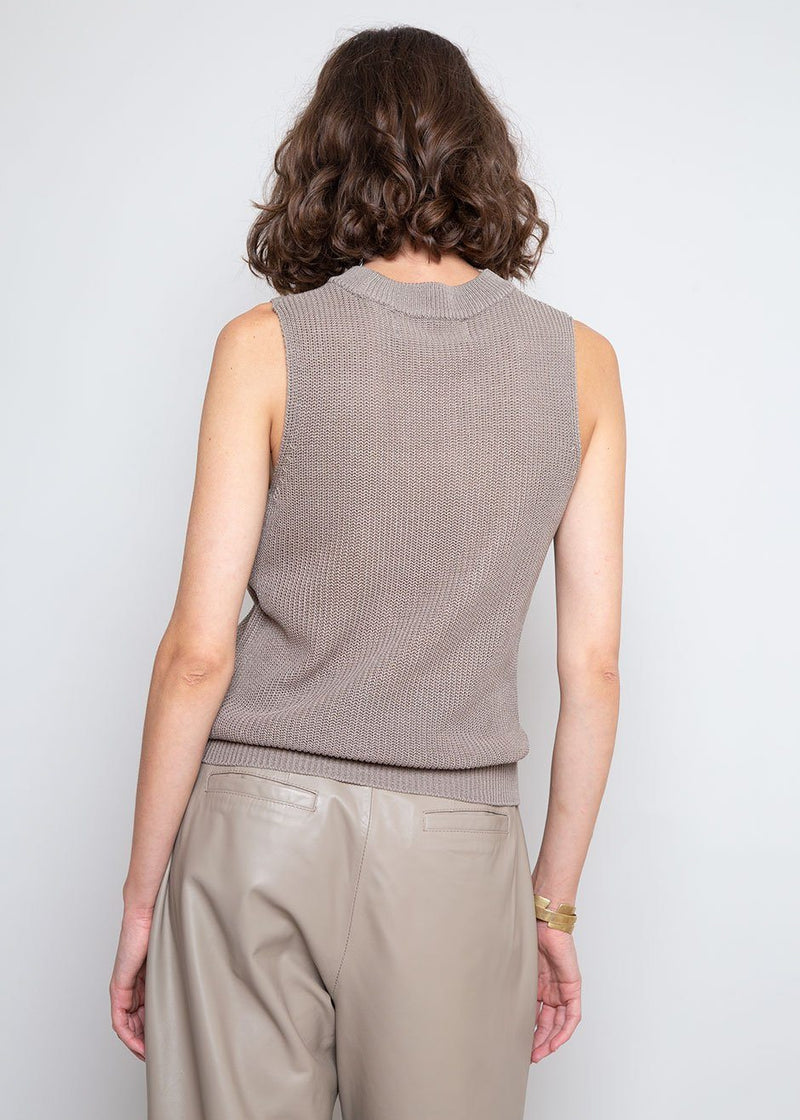 Sleeveless Knit Top in Ash Top The Wave