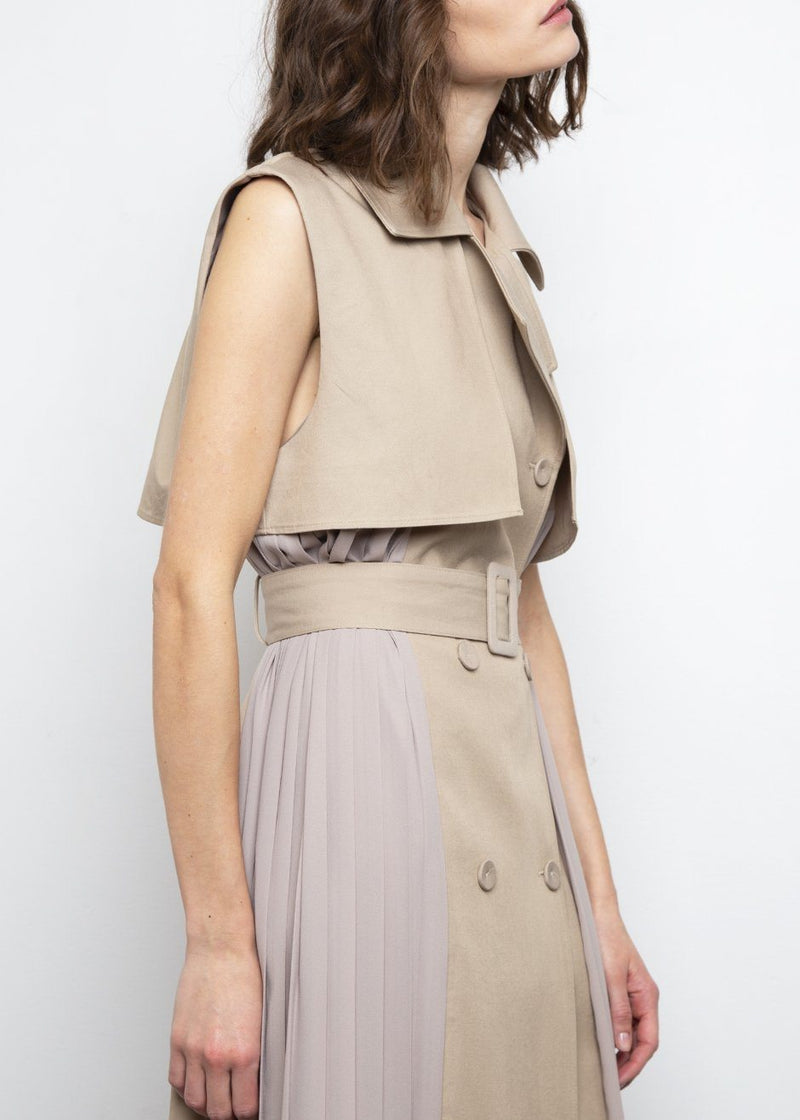 Sleeveless Pleated Trench Dress- Khaki Dress The Garo