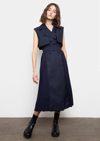 Sleeveless Pleated Trench Dress- Navy Blue Dress The Garo