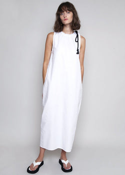 Sleeveless Rope Midi Dress in White Dress The Frankie Shop