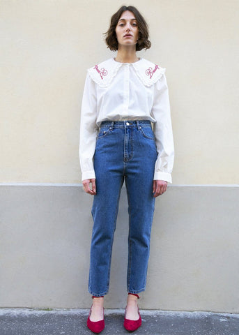 Slim Cut Cropped Blue Jeans Pants new woman