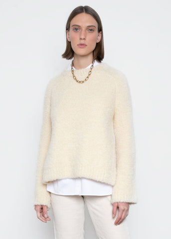 Slit Boucle Sweater in Winter White Sweater Earl Grey People
