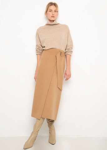 Sontag Camel Wool Belted Skirt by Shaina Mote Skirt Shaina Mote