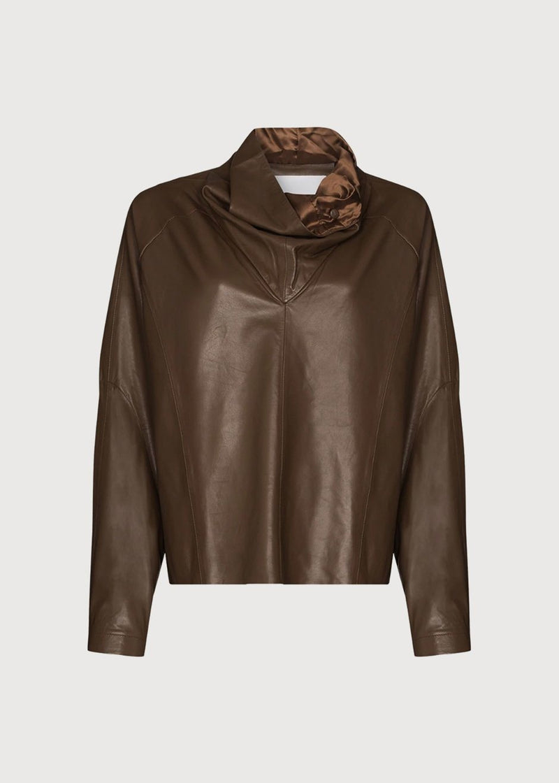 Sortie Roll Neck Leather Top by Remain Birger Christensen in Bison Top Remain
