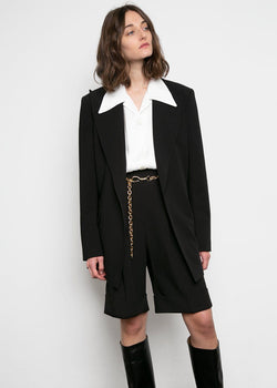 Split Back Stitched Blazer- Black Blazer L'art