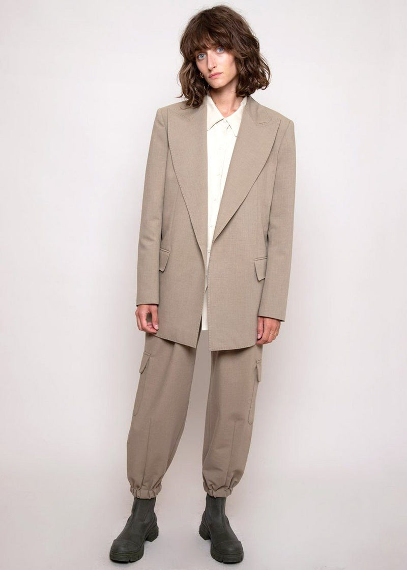 Split Back Stitched Blazer in Slate Green Blazer L'art
