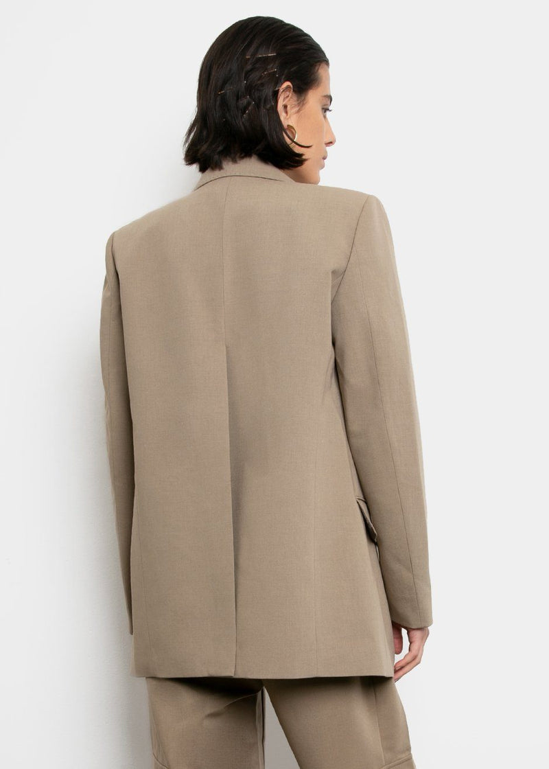 Split Back Stitched Blazer- Khaki Blazer L'art