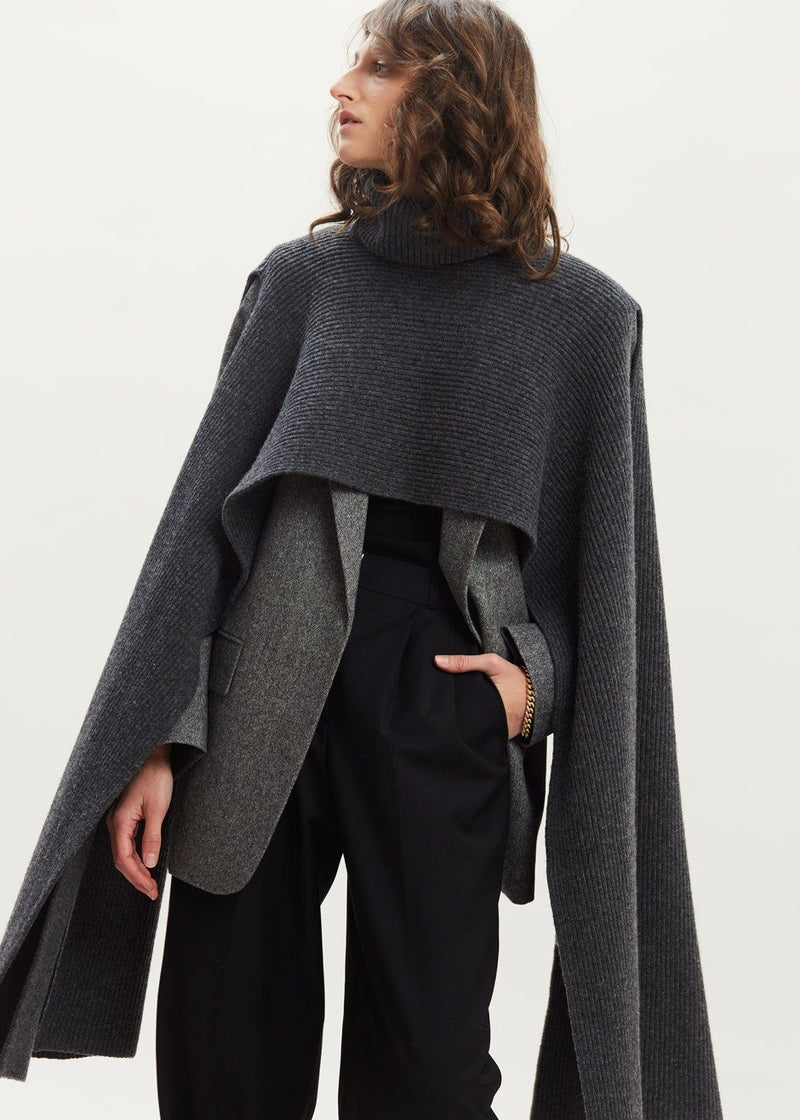 Split Cape Sleeve Turtleneck Pullover in Asphalt Sweater Anou