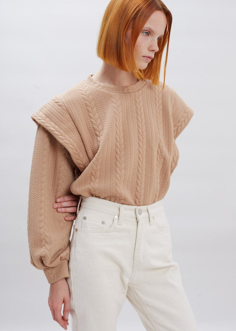 Statement Shoulder Braided Sweatshirt in Latte Top Blanche