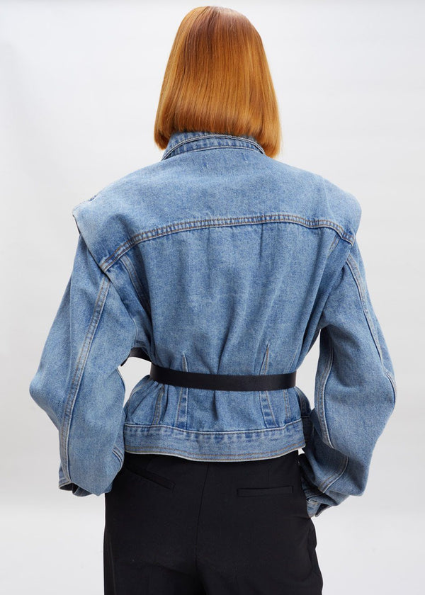 Statement Shoulder Denim Jacket in Blue Jacket Paper Moon