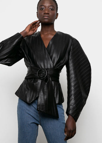 Statement Sleeve Black Leather Belted Top Top VanNzill