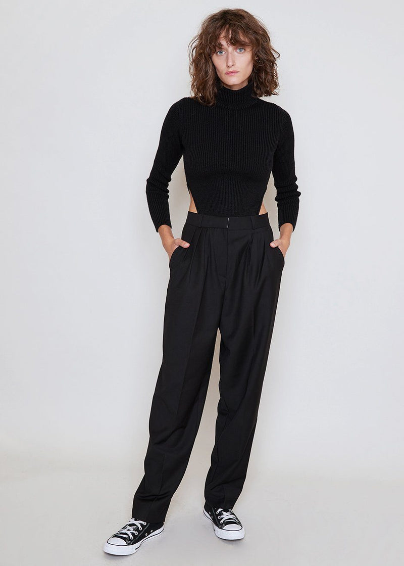 Straight Leg Pleat Front Trousers in Black Pants The Frankie Shop