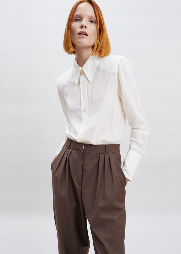 Straight Leg Pleat Front Trousers in Dark Chocolate Pants The Frankie Shop