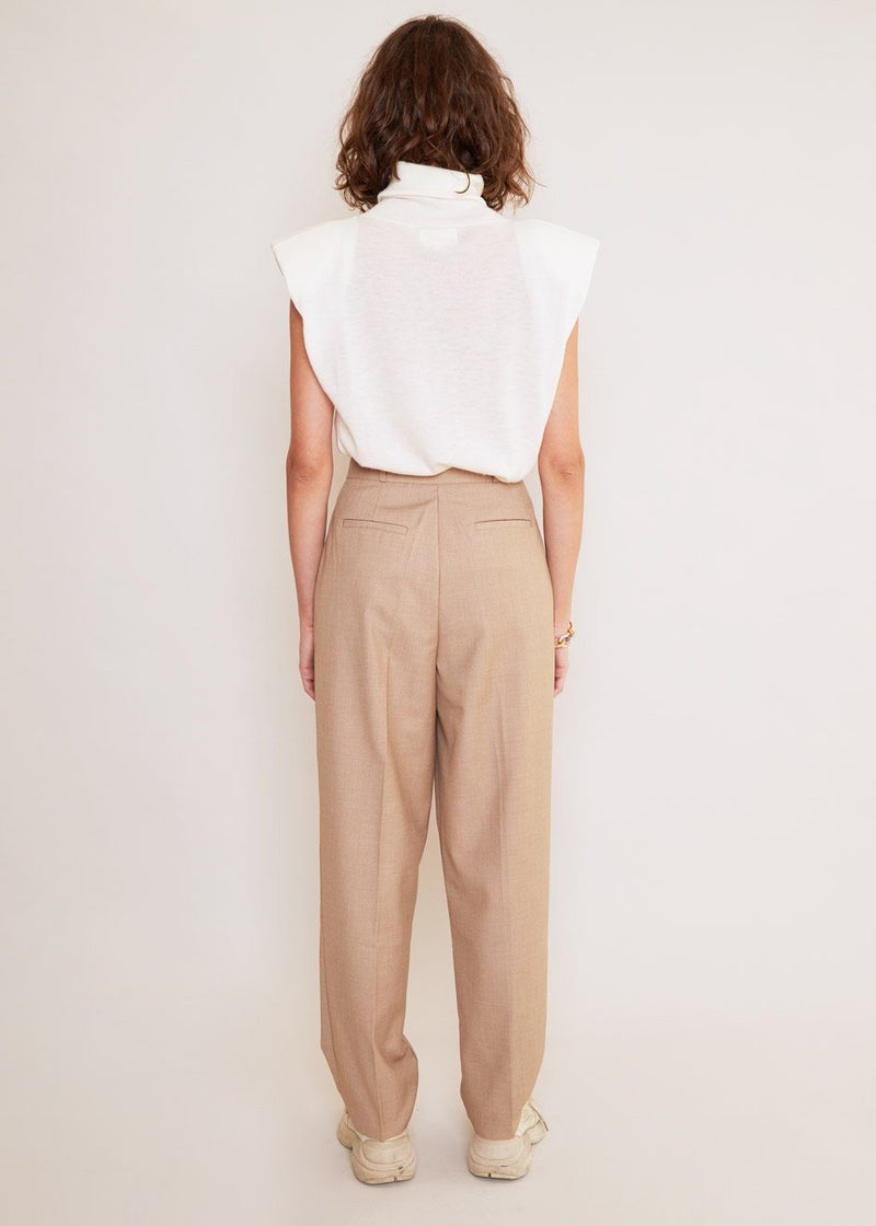 Straight Leg Pleat Front Trousers in Natural Pants The Frankie Shop