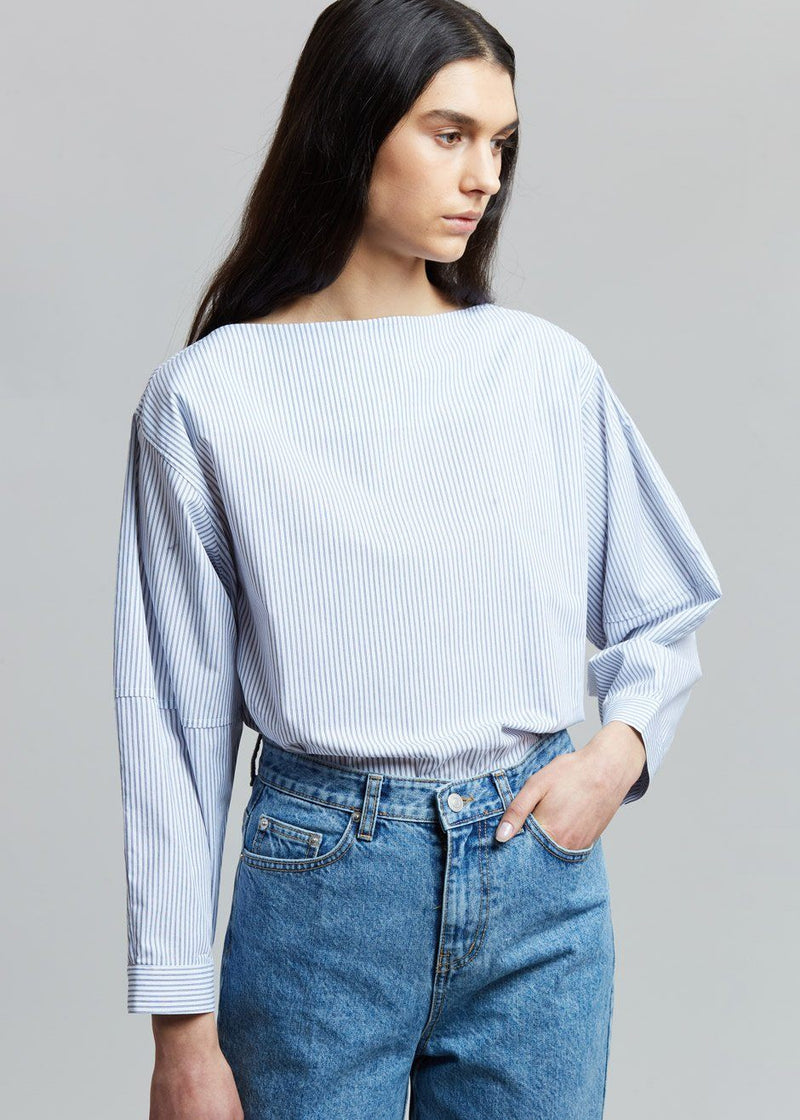 Striped Boatneck Blouse in White/Indigo Shirt The Wave