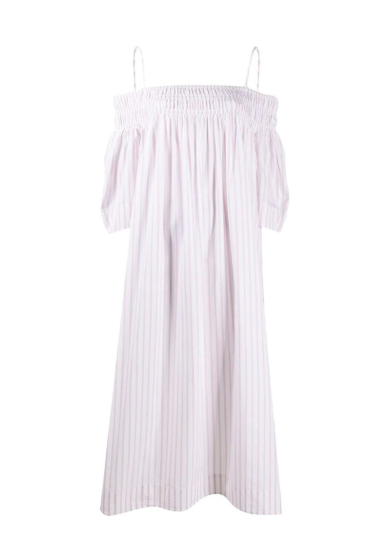 Striped Cotton Off The Shoulder Dress by Ganni in Cherry Blossom Dress Ganni