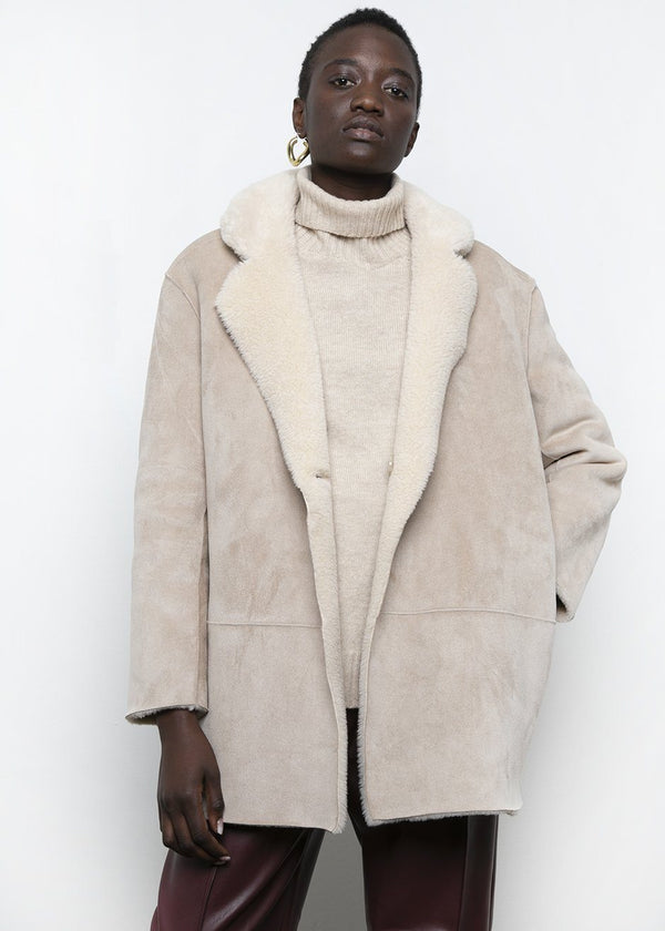 Sueded Reversible Shearling Coat in Beige Coat Plants on Gray