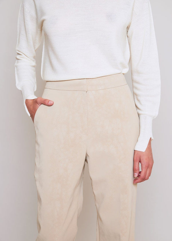 Sueded Split Hem Trousers in Biscotti Pants L'art