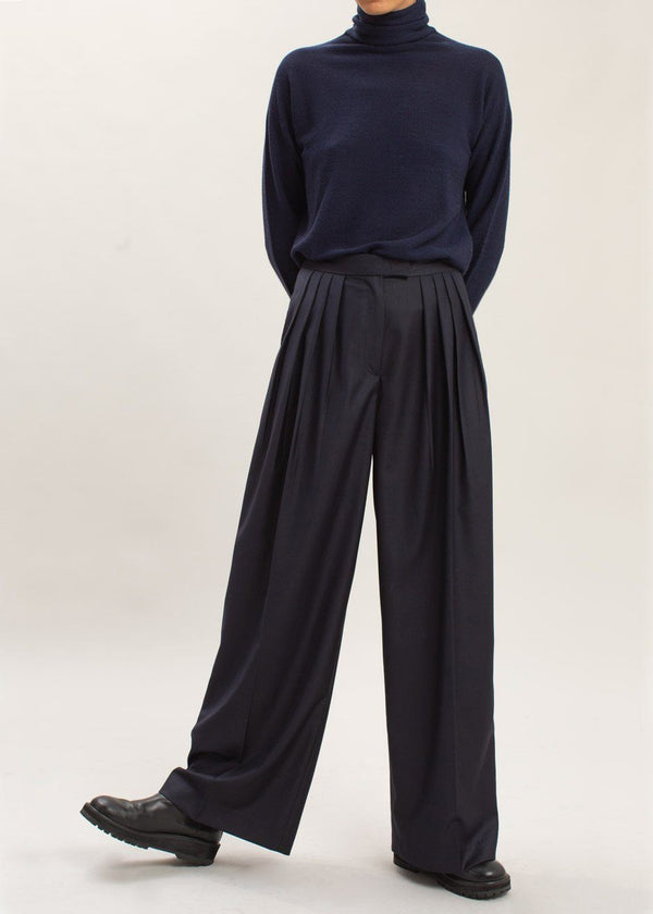 Super Wide Pleat Front Pants in Dark Navy Pants Mainstay