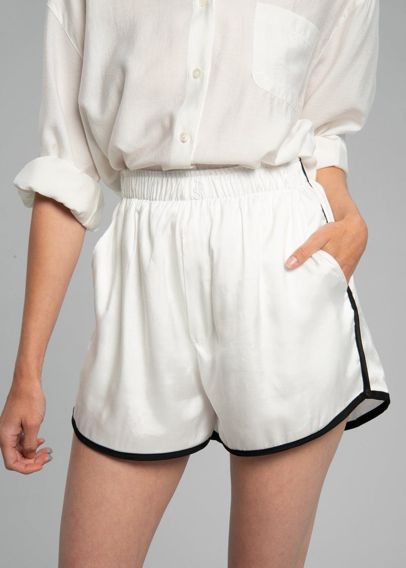 Sylvester Boxer Shorts - Optic White Shorts The Frankie Shop