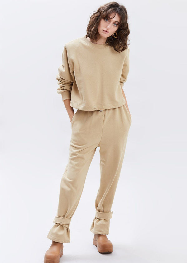 Tab Cuff Sweatpants in Camel Pants The Frankie Shop