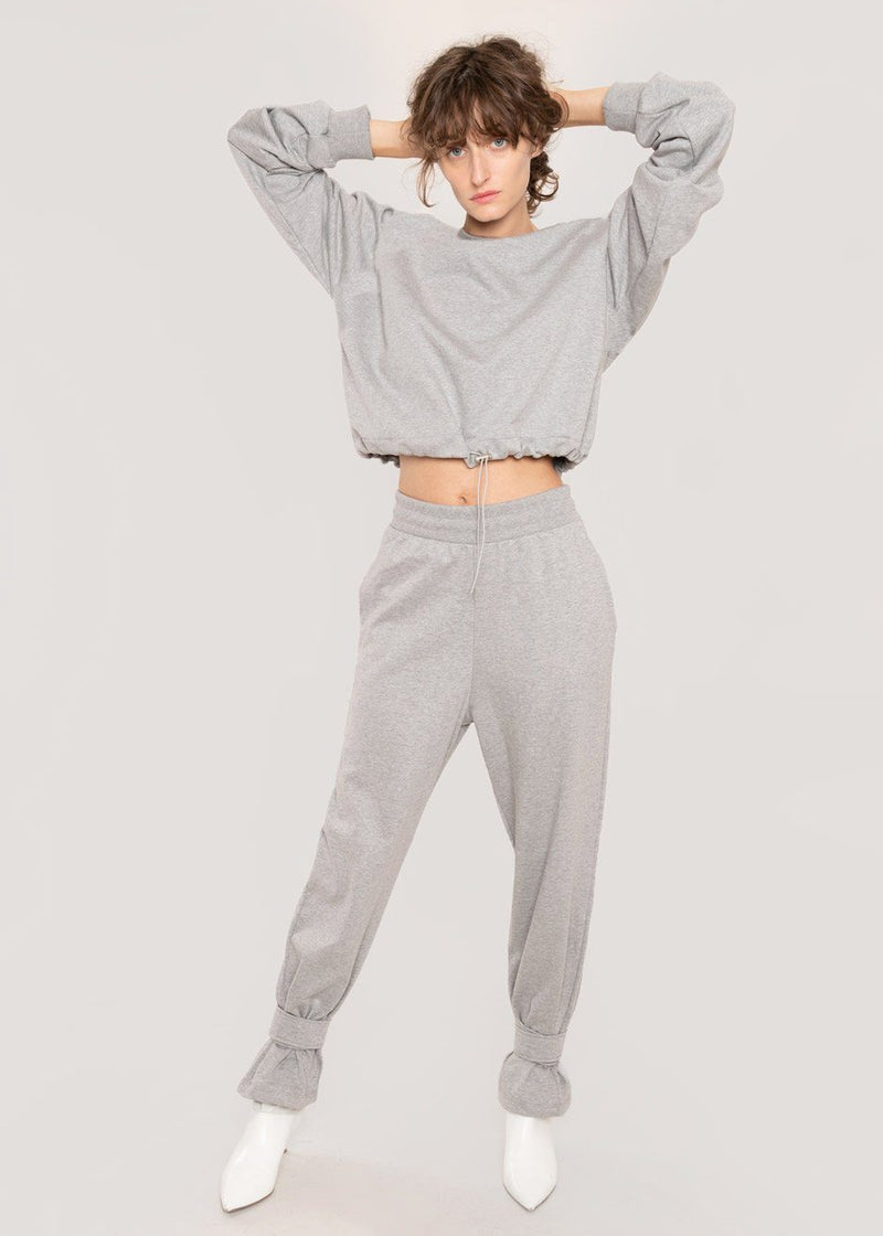 Tab Cuff Sweatpants in Heather Grey Pants The Frankie Shop