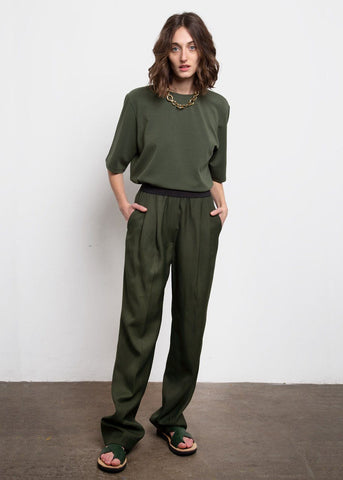 Takaroa Banded Pants by Loulou Studio- Khaki Green Pants Loulou Studio