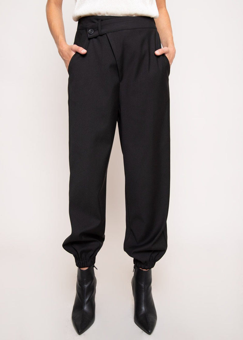 Tapered Crossover Trousers in Black Pants Getting On