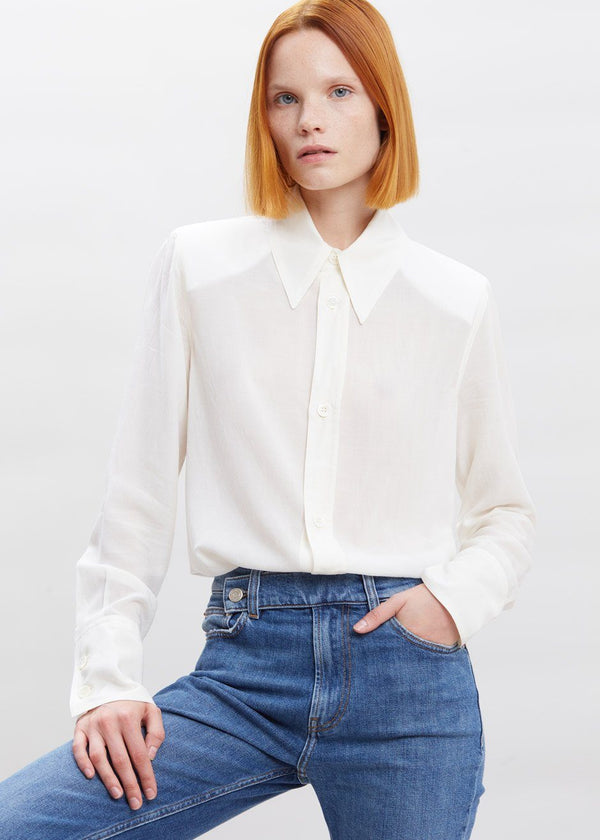 Tara Semi-Sheer Padded Shoulder Blouse in Ivory Top Covert