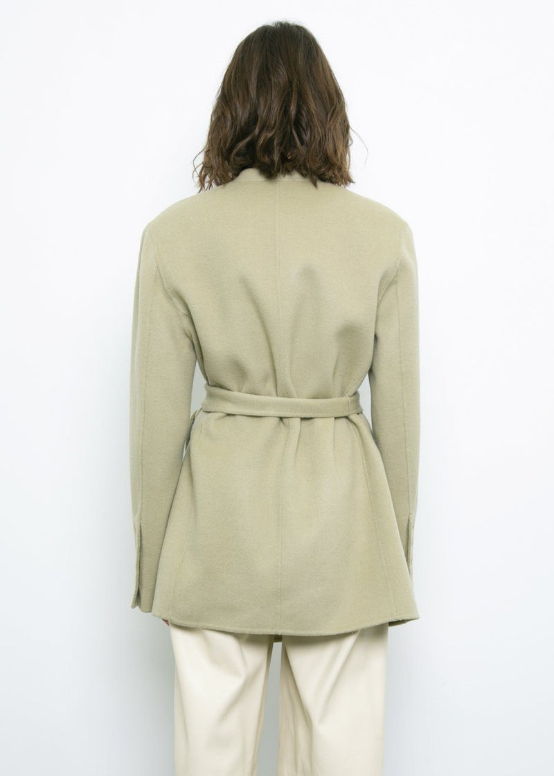 Tea Green Collarless Belted Jacket Jacket L'art