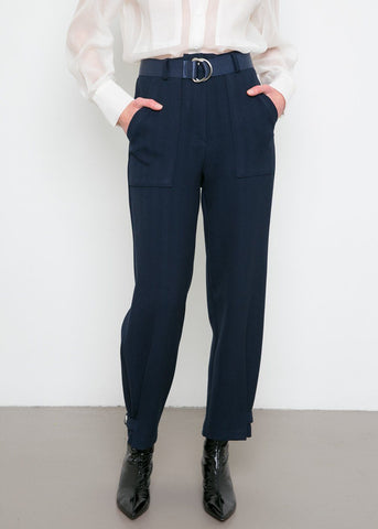Tencel Chevron Herringbone Tab Trousers- Navy Pants the ebonyeyes