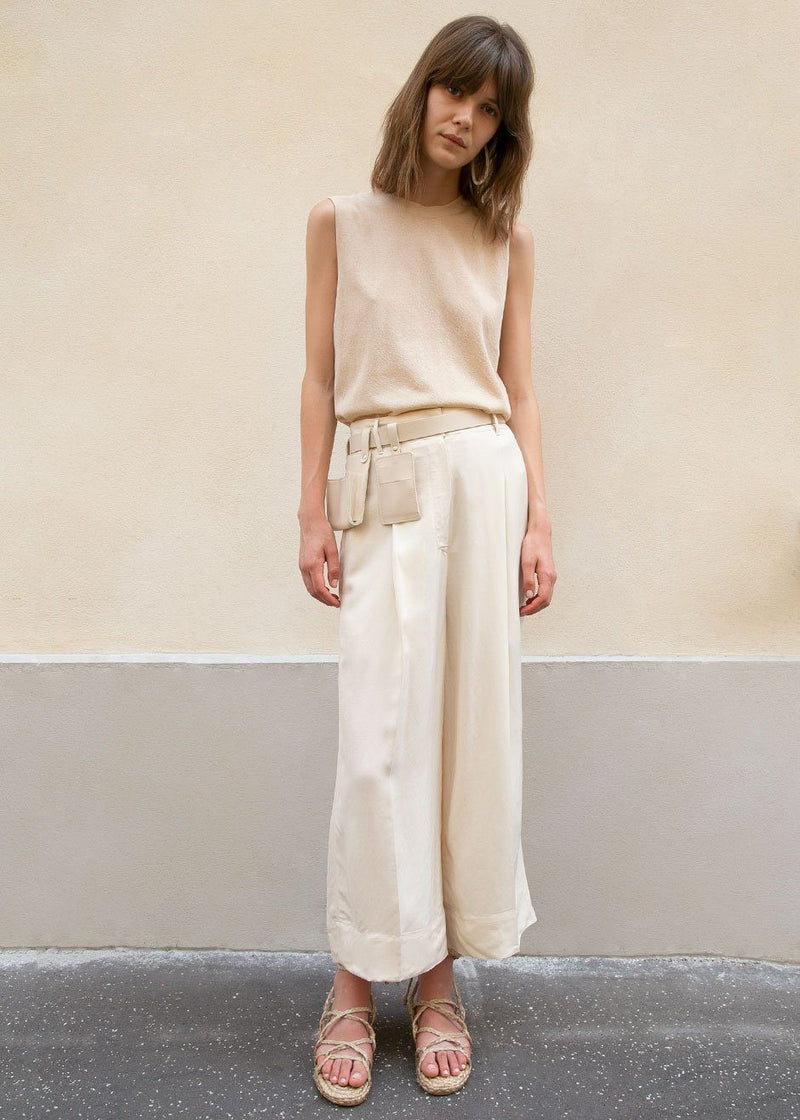 Tencel Cropped Loose Pants in Ivory Pants Blossom