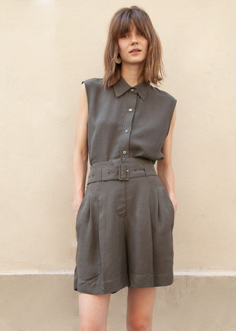 Tencel High Rise Belted Shorts in Dark Olive Shorts Blossom
