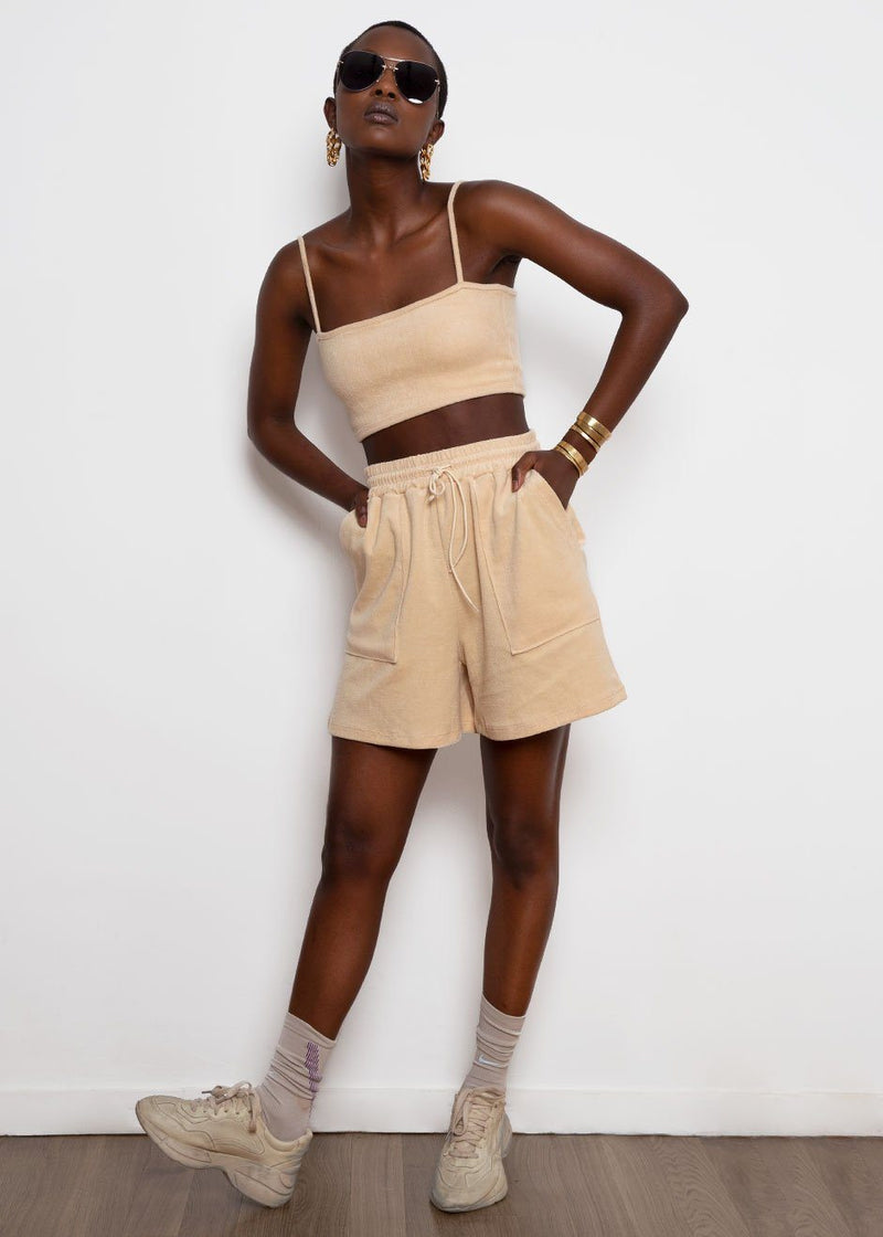 Terry Cloth Two Piece Shorts Set- Daffodil Set Cafe Noir