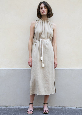 Textured Camel Linen Long Dress with Tassel Belt Dress London Flat