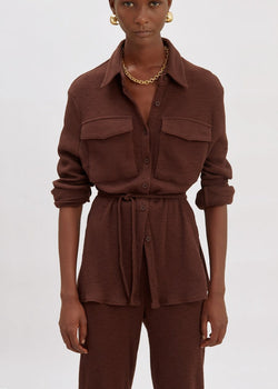 Thick Rib Pocket Shirt Lounge Set in Chocolate Set Chav