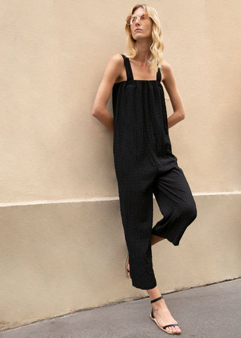 Thick Strap Puckered Jumpsuit in Black Jumpsuit More than