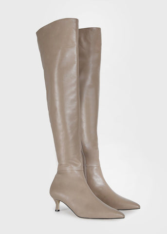 Thigh High Pointed Toe Leather Boots in Taupe Shoes Lapin