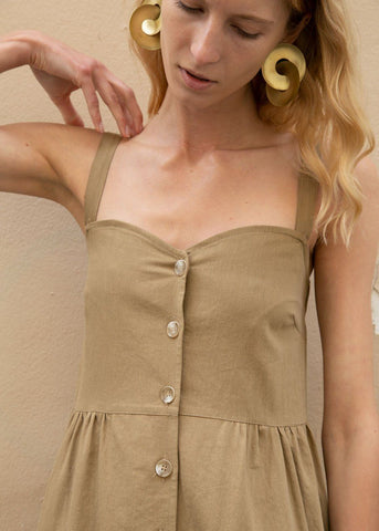 Thin Strap Button Midi Dress in Khaki Dress More than Yesterday