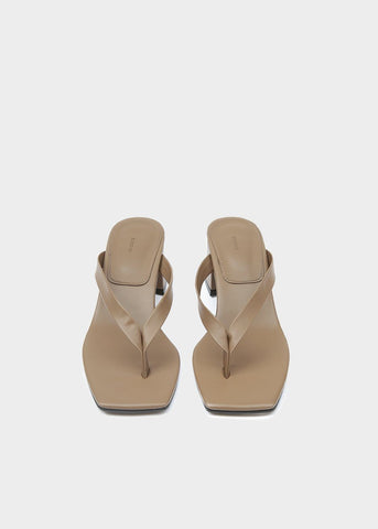 Thong Heeled Sandal in Dark Taupe Shoes Blossom