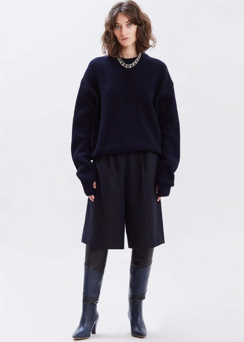 Thumbhole Crewneck Sweater in Deep Navy Sweater Have&Have