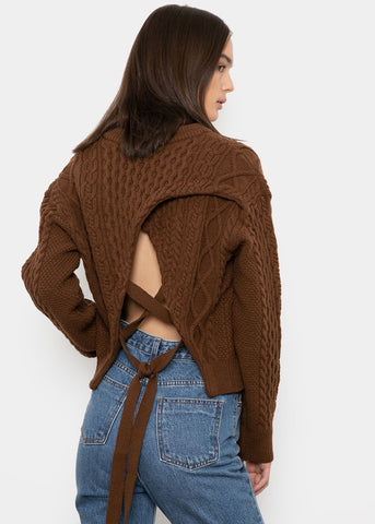 Tie Back Cable Knit Sweater- Brown Sweater The Frankie Shop