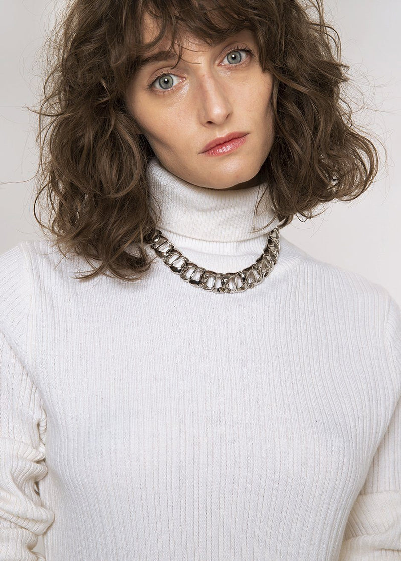 Tie Back Ribbed Knit Turtleneck in Ivory Sweater Bar