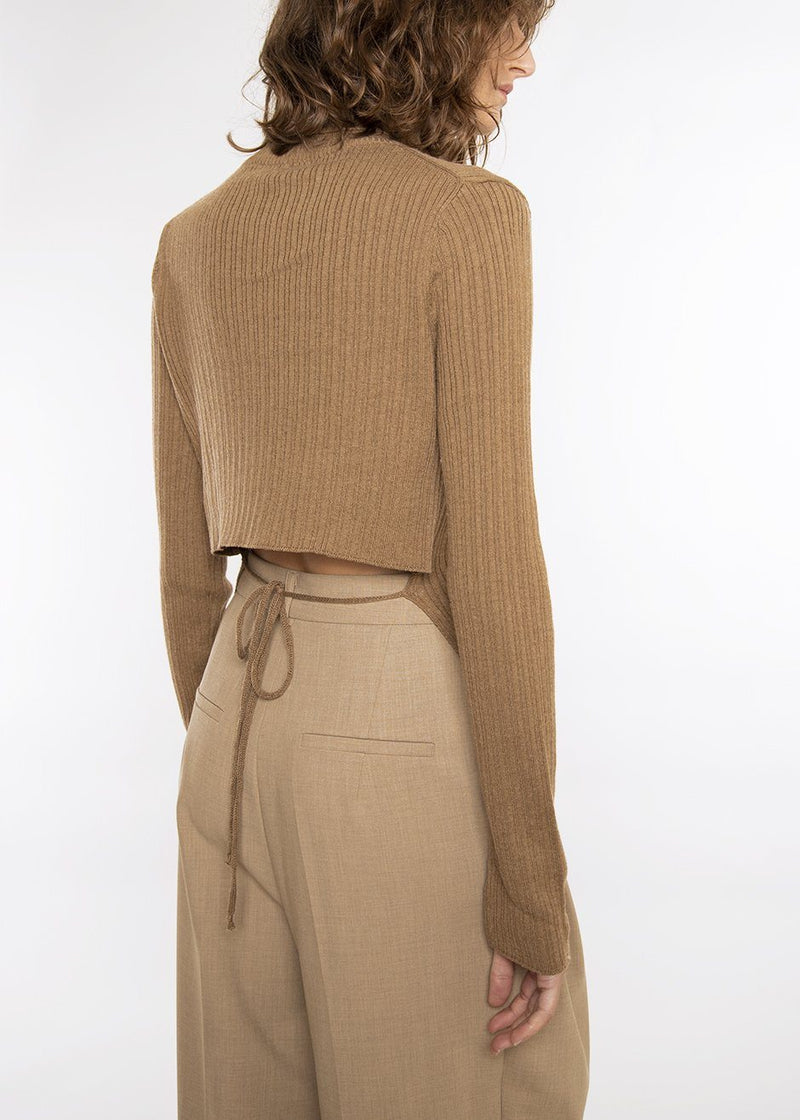 Tie Back Ribbed Knit Turtleneck in Tobacco Sweater Bar
