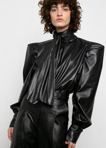 Tie Neck Top in Black Leather Top VanNzill